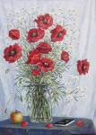 Poppies in a vase.