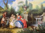 A copy of N. Lancre's painting. Lady in the Garden, Giving Children Taste Coffee