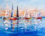 Colorful yachts in the blue sea