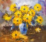 Bouquet of yellow flowers in a blue vase N2
