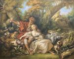 A free copy of F. Boucher's painting. Shepherd and Shepherdess