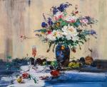 Still life with a bouquet of flowers in a blue vase and garden fruits
