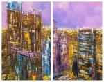 Moscow City. Lilac sunset. Diptych
